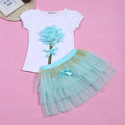 keaiyouhuo 2pcs Girls Floral Print T-shirt Mesh Layered Puff SkirtGirls clothing sets<br>keaiyouhuo 2pcs Girls Floral Print T-shirt Mesh Layered Puff Skirt<br><br>Collar: Round Neck<br>Elasticity: Elastic<br>Material: Cotton Blend<br>Package Contents: 1 x T-shirt, 1 x Skirt<br>Pattern Type: Floral<br>Shirt Length: Regular<br>Sleeve Length: Short<br>Style: Sweet<br>Weight: 0.1650kg