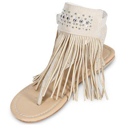 Trendy Toe Post Fringe Rivet Hollow Out Women Sandals
