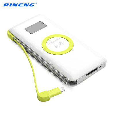 PINENG PN - 888 Qi Wireless Charger + QC 3.0 10000mAh Power Bank with Micro USB Cable 8 Pin Adapter 2 in 1
