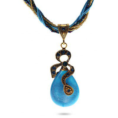 Buy LIGHT BLUE Bohemia Resin Pendant Necklace for $3.63 in GearBest store