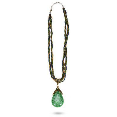 Buy CRYSTAL GREEN Bohemia Water Drop Pendant Necklace for $3.57 in GearBest store
