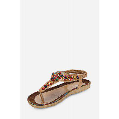 Toe Post Beaded Flat Thong Sandals Beach Women Shoes