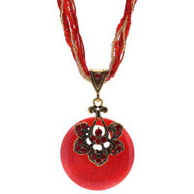 Buy RED Bohemia Women Flower Shape Resin Pendant Necklace for $3.60 in GearBest store