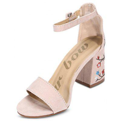 Open Toe Ankle Strap Embroidery High Heel Women Shoes