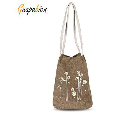 Guapabien Flower Print Canvas Handbag Bucket Shoulder Bag
