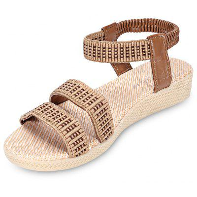 Open Toe Elastic Ankle Strap Flat Women Sandals