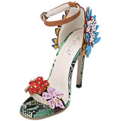 Open Toe Applique Ankle Strap Thin High Heel Women Shoes