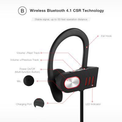V5 Bluetooth 4.1 Wireless Headphone EarbudEarbud Headphones<br>V5 Bluetooth 4.1 Wireless Headphone Earbud<br><br>Package Contents: 1 x Bluetooth Earphone, 4 x Earbud, 1 x Buckle, 1 x USB Cable, 1 x English User Manual<br>Package Size(L x W x H): 10.00 x 9.00 x 4.00 cm / 3.94 x 3.54 x 1.57 inches<br>Package weight: 0.0600 kg<br>Product Size(L x W x H): 68.00 x 4.00 x 3.50 cm / 26.77 x 1.57 x 1.38 inches<br>Product weight: 0.0200 kg