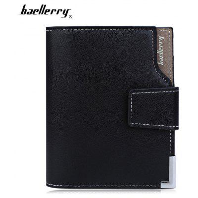 Baellerry  Men Solid Color Hardware Slice Letter Zipper Hasp Short Vertical Wallet