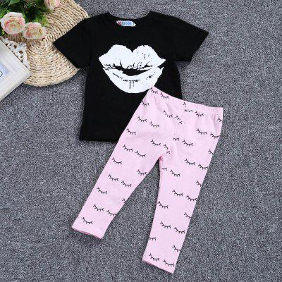 SOSOCOER Girls 2pcs Lip Pattern T-shirt Eyelash Print Trousersbaby clothing sets<br>SOSOCOER Girls 2pcs Lip Pattern T-shirt Eyelash Print Trousers<br><br>Brand: SOSOCOER<br>Closure Type: Pullover<br>Collar: Round Neck<br>Decoration: Pattern<br>Gender: Girl<br>Material: Cotton Blend<br>Package Contents: 1 x T-shirt, 1 x Pair of Trousers<br>Season: Summer<br>Sleeve Length: Short<br>Style: Leisure<br>Thickness: General<br>Weight: 0.1280kg