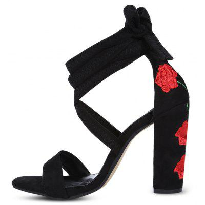 Open Toe Embroidery Lace-up High Heel Women Shoes