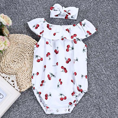SOSOCOER Girls Cherry Print Cap Sleeve Hairband Baby Romperbaby rompers<br>SOSOCOER Girls Cherry Print Cap Sleeve Hairband Baby Romper<br><br>Brand: SOSOCOER<br>Closure Type: Single Breasted<br>Collar: Scoop Neck<br>Decoration: Pattern<br>Gender: Girl<br>Material: Cotton Blend<br>Package Contents: 1 x Romper, 1 x Hairband<br>Pattern Style: Print<br>Season: Summer<br>Sleeve Length: Short<br>Style: Sweet<br>Thickness: Thin<br>Weight: 0.0760kg