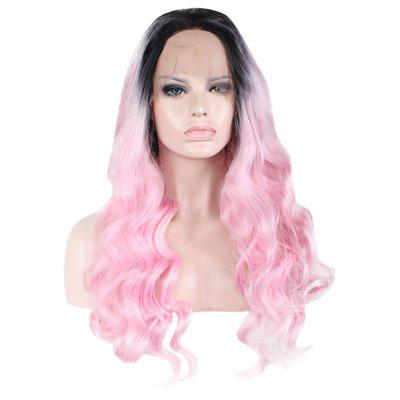 Women Two-tone Curly Long Lace Front Free Part High Temperature Synthetic Wig