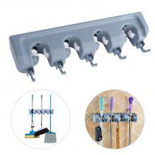 Wall Mounted Mop Broom Storage Rack Hanger with 5 Hooks
