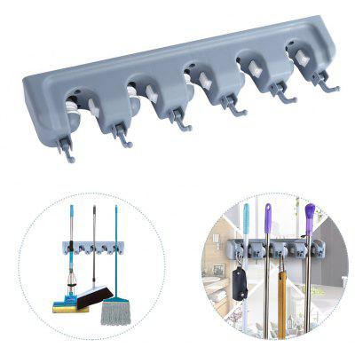Buy GRAY Wall Mounted Mop Broom Storage Rack Hanger with 6 Hooks for $11.08 in GearBest store