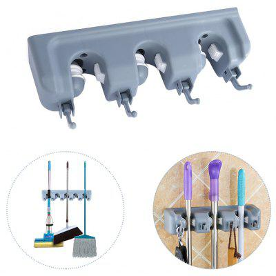 Wall Mounted Mop Broom Storage Rack Hanger with 4 Hooks