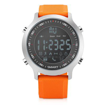 EX18 Bluetooth 4.0 Smart WatchSmart Watches<br>EX18 Bluetooth 4.0 Smart Watch<br><br>Band material: TPU<br>Bluetooth Version: Bluetooth 4.0<br>Case material: Metal<br>Compatability: Android 4.3 / iOS 7.0 and above system<br>Compatible OS: Android, IOS<br>Functions: SMS Reminding, Pedometer, Notification of app, Incoming calls show, Distance measurement, Camera remote, Calorie burns measurement, Calls reminding, Alarm<br>Language: English<br>Package Contents: 1 x Smart Watch, 1 x English and Chinese User Manual<br>Package size (L x W x H): 10.50 x 10.50 x 7.50 cm / 4.13 x 4.13 x 2.95 inches<br>Package weight: 0.2100 kg<br>People: Female watch,Male watch<br>Power: Battery<br>Product size (L x W x H): 25.00 x 4.50 x 1.20 cm / 9.84 x 1.77 x 0.47 inches<br>Product weight: 0.0820 kg<br>Screen: LCD<br>Screen size: 0.47 inch<br>Shape of the dial: Round<br>Standby time: About 12 months<br>The band width: 2.2 cm / 0.87 inch<br>The dial diameter: 4.5 cm / 1.77 inch<br>The dial thickness: 1.2 cm / 0.47 inch<br>Water resistance: 50m