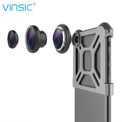 VINSIC Detachable 0.4X Wide Angle + Macro + 235 Degree Fisheye Lens 3 in 1 External Phone Camera with Back Clip for iPho