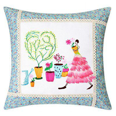 45 x 45cm DIY Pintura Lovely Lady Ribbon Stitch Pillow Cover