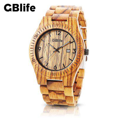 GBlife GM86 - 01 Wood Men Quartz Calendar Watch