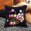 45 x 45cm DIY Painting Pillow Cover Flower Ribbon Stitch - PRETO