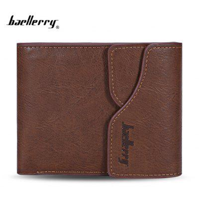 Baellerry Men Coin Pocket Hasp PU Short Wallet Card Holder