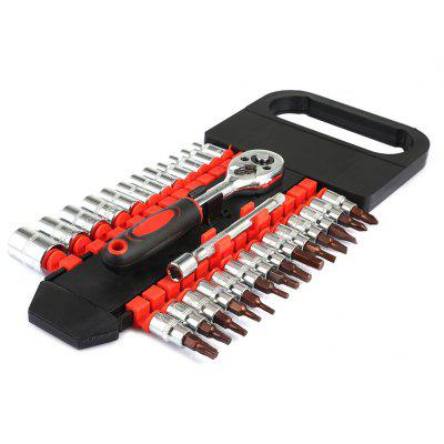 28pcs Tube Double Row Ratchet Wrench 1/4 Small Fly Repairing Hand Tool