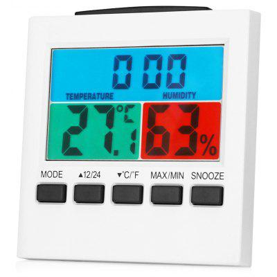 Buy WHITE LCD Thermometer Hygrometer Digital Alarm Clock Desk Clock for $7.85 in GearBest store