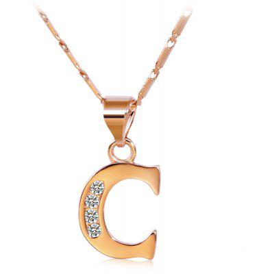 Buy ROSE GOLD C Rhinestones Chain 26 English Letters Shape Pendant Necklace for $4.24 in GearBest store