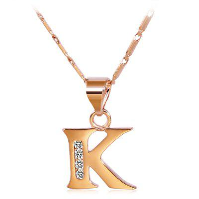 Buy ROSE GOLD K Rhinestones Chain 26 English Letters Shape Pendant Necklace for $4.24 in GearBest store