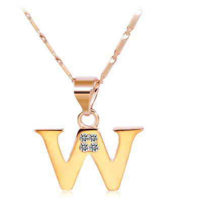 Buy ROSE GOLD W Rhinestones Chain 26 English Letters Shape Pendant Necklace for $4.24 in GearBest store