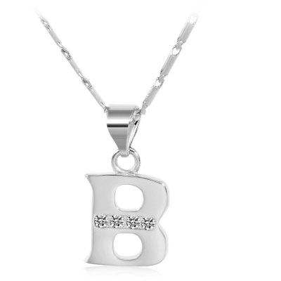 Buy SILVER B Rhinestones Chain 26 English Letters Shape Pendant Necklace for $4.24 in GearBest store