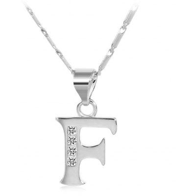 Buy SILVER F Rhinestones Chain 26 English Letters Shape Pendant Necklace for $4.24 in GearBest store