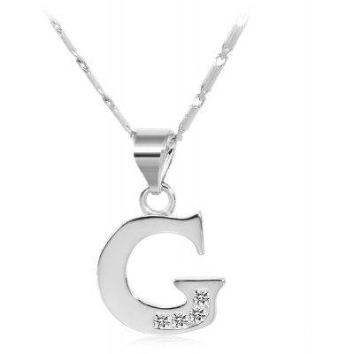 Buy SILVER G Rhinestones Chain 26 English Letters Shape Pendant Necklace for $4.24 in GearBest store