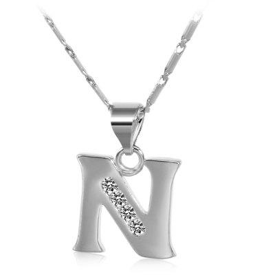 Buy SILVER N Rhinestones Chain 26 English Letters Shape Pendant Necklace for $4.24 in GearBest store