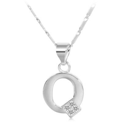 Buy SILVER Q Rhinestones Chain 26 English Letters Shape Pendant Necklace for $4.24 in GearBest store