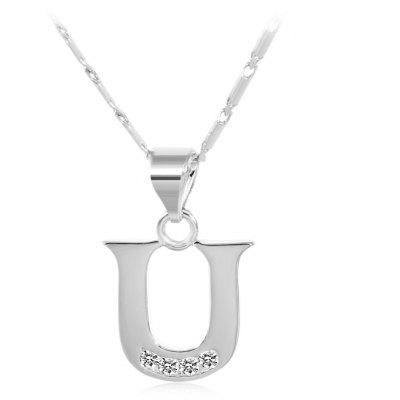 Buy SILVER U Rhinestones Chain 26 English Letters Shape Pendant Necklace for $4.24 in GearBest store