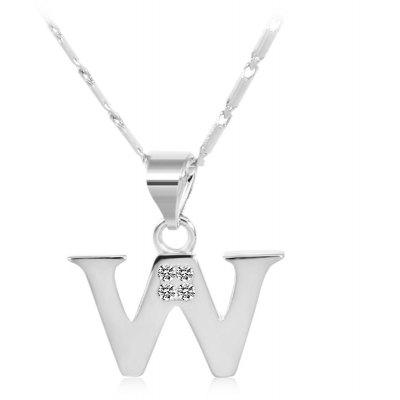 Buy SILVER W Rhinestones Chain 26 English Letters Shape Pendant Necklace for $4.24 in GearBest store