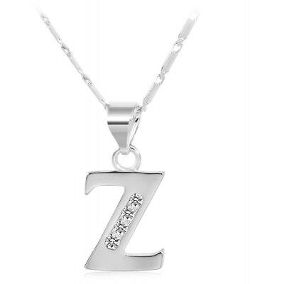 Buy SILVER Z Rhinestones Chain 26 English Letters Shape Pendant Necklace for $4.24 in GearBest store