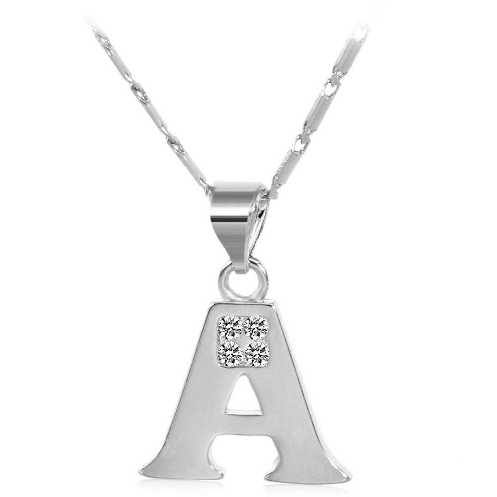 SILVER A Rhinestones Chain 26 English Letters Shape Pendant Necklace