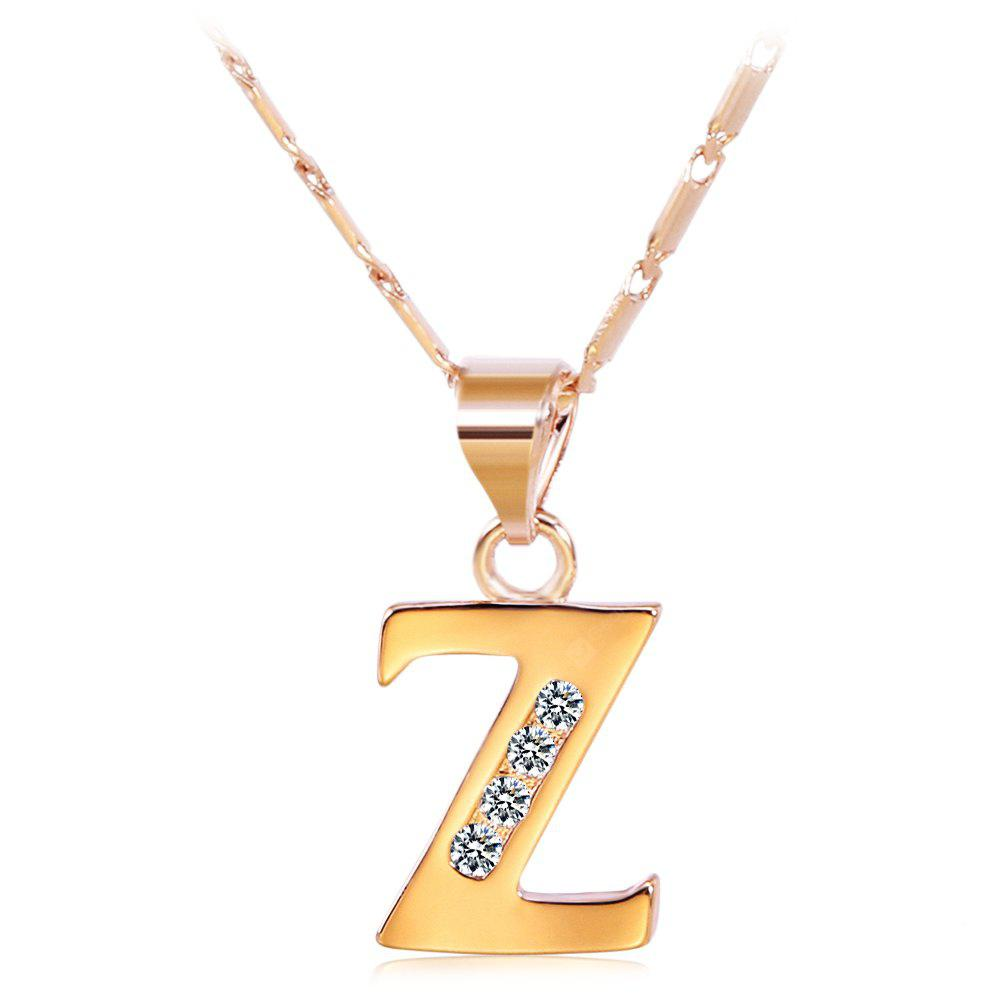 ROSE GOLD Z Rhinestones Chain 26 English Letters Shape Pendant Necklace
