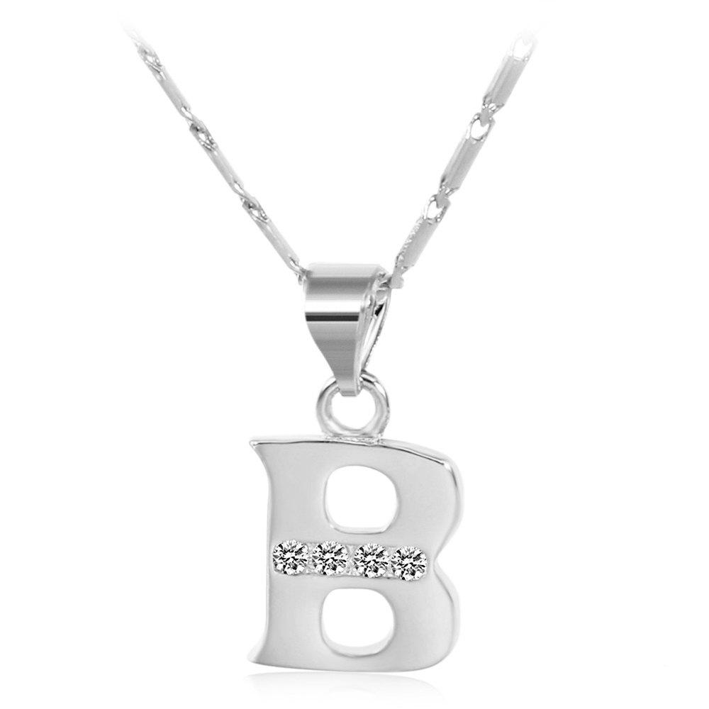 SILVER B Rhinestones Chain 26 English Letters Shape Pendant Necklace