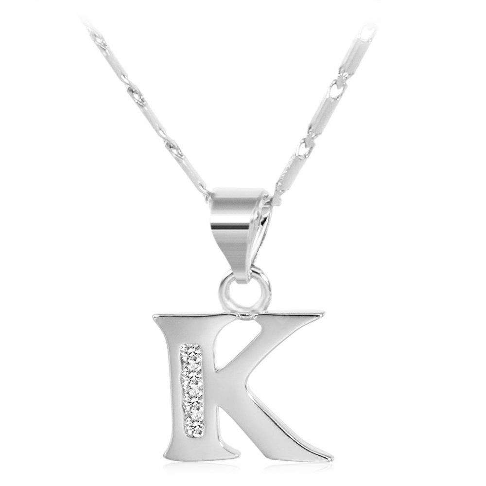 SILVER K Rhinestones Chain 26 English Letters Shape Pendant Necklace