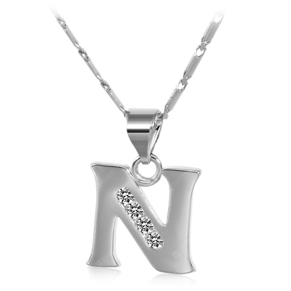 SILVER N Rhinestones Chain 26 English Letters Shape Pendant Necklace