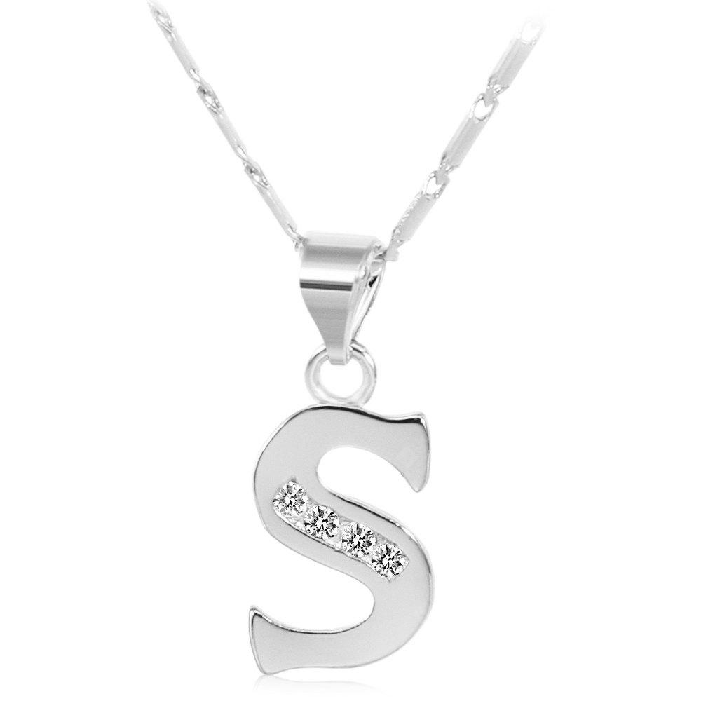 SILVER S Rhinestones Chain 26 English Letters Shape Pendant Necklace