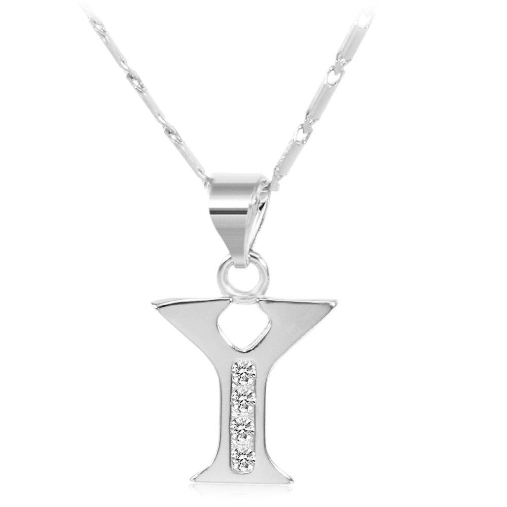 SILVER Y Rhinestones Chain 26 English Letters Shape Pendant Necklace