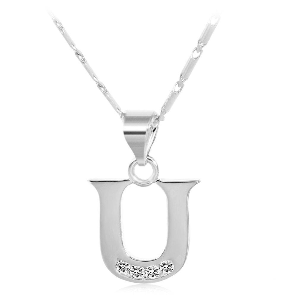 SILVER U Rhinestones Chain 26 English Letters Shape Pendant Necklace