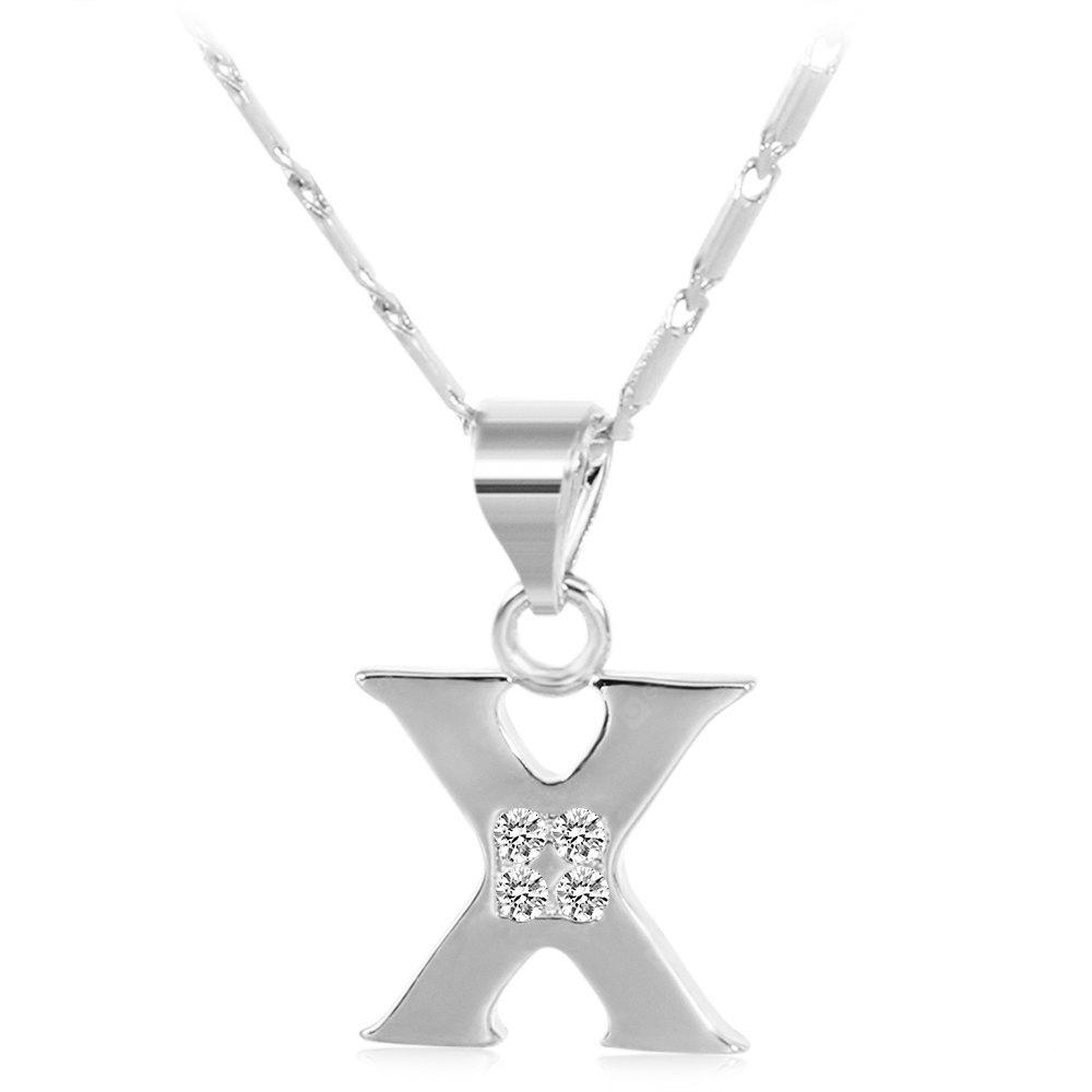 SILVER X Rhinestones Chain 26 English Letters Shape Pendant Necklace