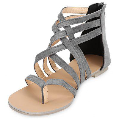 Toe Post Strappy Zipper Sandals Women Flat Shoes