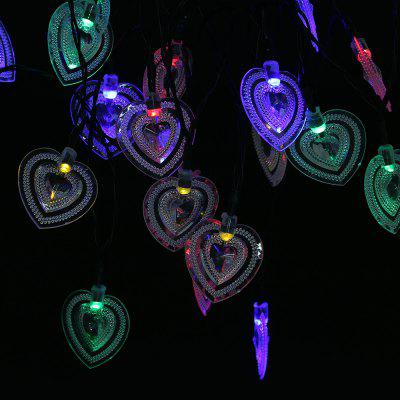 Solar Powered Romantic Heart-shaped String Lamp LightOutdoor Lights<br>Solar Powered Romantic Heart-shaped String Lamp Light<br><br>Is Bulbs Included: Yes<br>Is Dimmable: No<br>Light Source: LED Bulbs<br>Package Contents: 1 x String Lamp with Solar Panel, 1 x Anchor Spike, 1 x English Manual<br>Package Size(L x W x H): 15.00 x 9.50 x 8.50 cm / 5.91 x 3.74 x 3.35 inches<br>Package weight: 0.2670 kg<br>Product weight: 0.1810 kg<br>Style: Cottage, Art Deco, Novelty, Modern